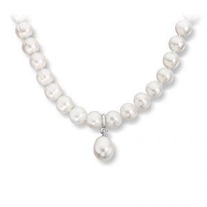 Mestergull Elegant ferskvannsperle kjede i hvitt gull med diamanter MG DIAMONDS Kjede