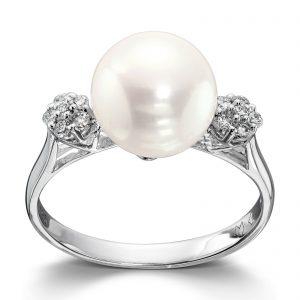 Mestergull Vakker ring i hvitt gull med diamanter og ferskvannsperle MG DIAMONDS Ring