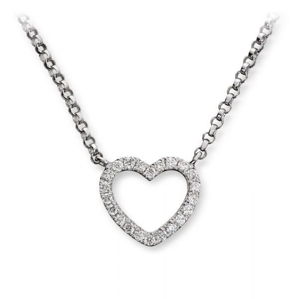Mestergull Tidløst hjerteanheng i hvitt gull med diamanter MG DIAMONDS Kjede