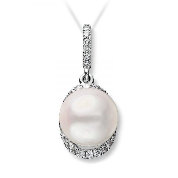 Mestergull Stilrent anheng i hvitt gull med diamanter og ferskvannsperle MG DIAMONDS Anheng