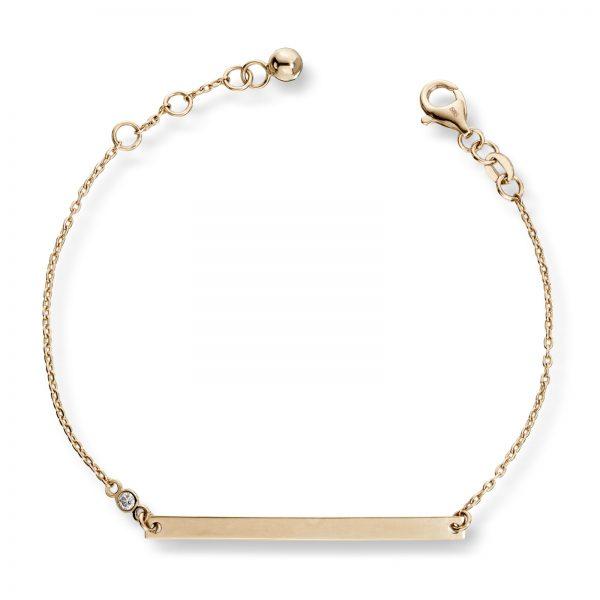 Mestergull Stilrent armbånd i gult gull med diamanter MG DIAMONDS Armbånd