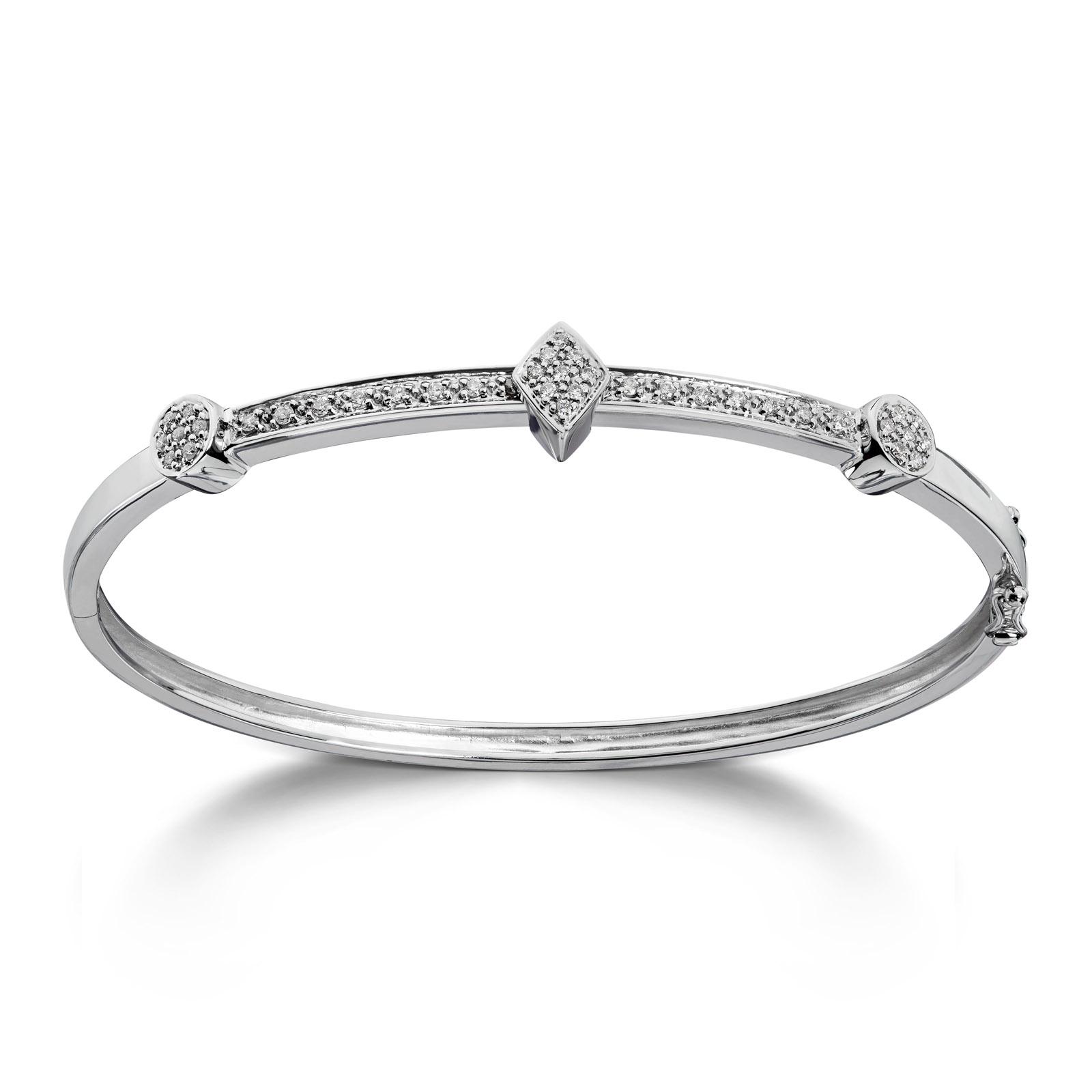 Mestergull Vakker armring i hvitt gull med diamanter MG DIAMONDS Armring
