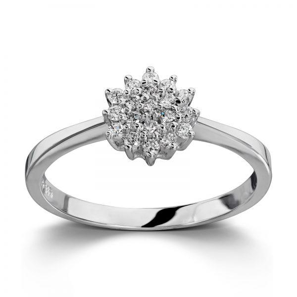 Mestergull Vakker rosettring i hvitt gull med diamanter MG DIAMONDS Ring