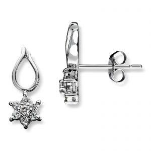Mestergull Flott stjerneørepynt i hvitt gull med diamanter MG DIAMONDS Ørepynt