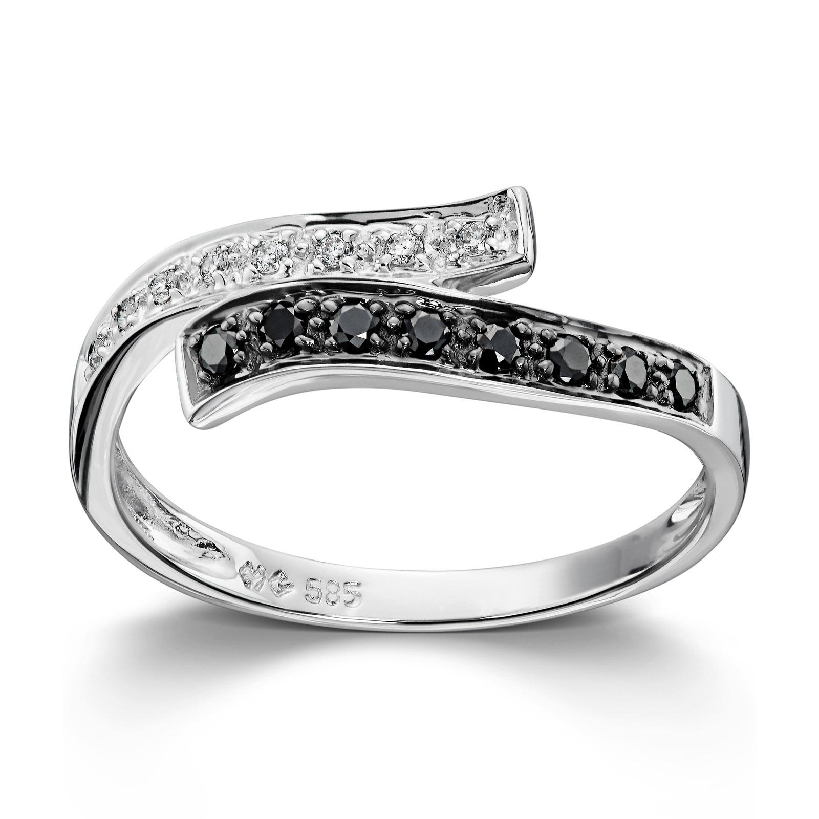 9541e74b Mestergull Lekker ring i hvitt gull med sorte og hvite diamanter MG  DIAMONDS Ring
