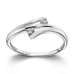 Mestergull Delikat ring i hvitt gull med diamanter MG DIAMONDS Ring