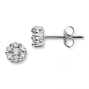 Mestergull Stilren ørepynt i hvitt gull med diamanter MG DIAMONDS Ørepynt