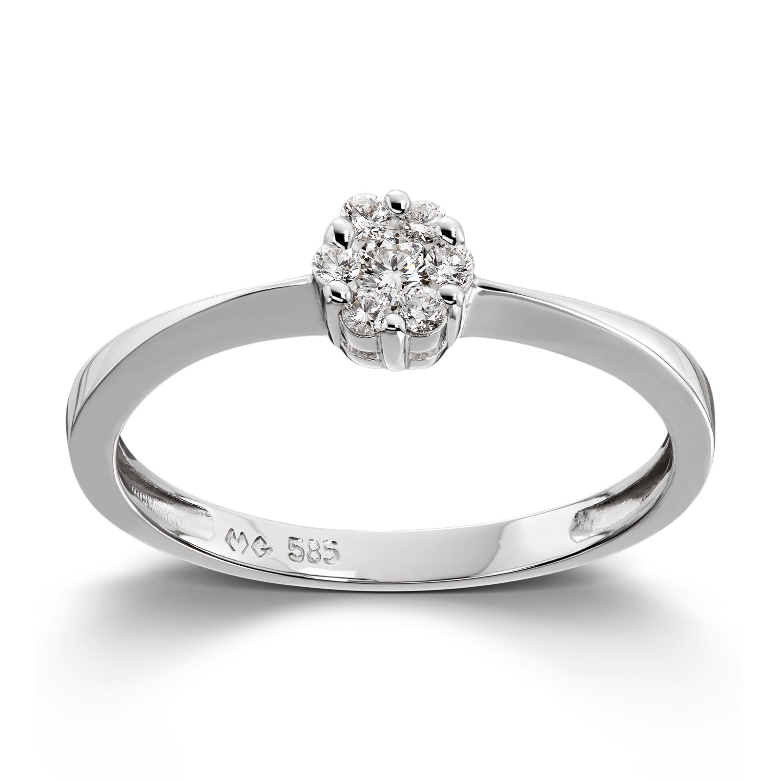 Mestergull Stilren ring i hvitt gull med diamanter MG DIAMONDS Ring