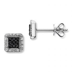 Mestergull Lekker ørepynt i hvitt gull med sorte og hvite diamanter MG DIAMONDS Ørepynt