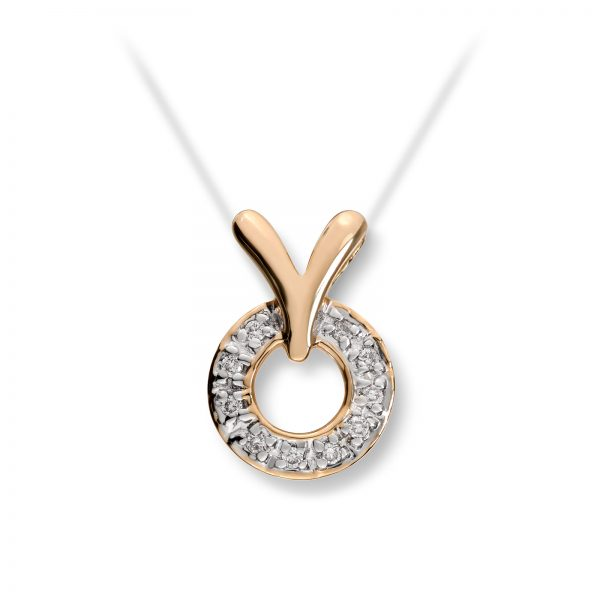 Mestergull Elegant anheng i gult gull med diamanter MG DIAMONDS Anheng