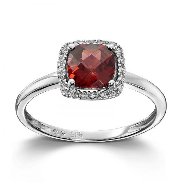 Mestergull Elegant ring i hvitt gull med granat og diamanter MG DIAMONDS Ring