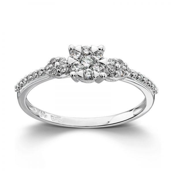 Mestergull Flott ring i hvitt gull med diamanter MG DIAMONDS Ring