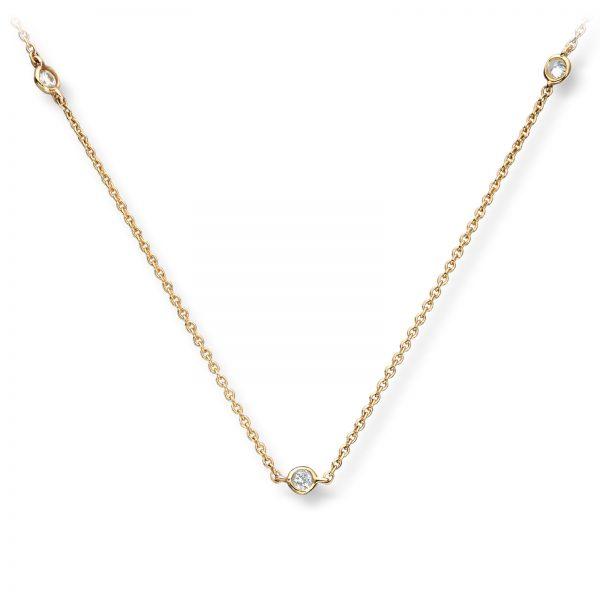 Mestergull Flott kjede i gult gull med diamanter MG DIAMONDS Kjede