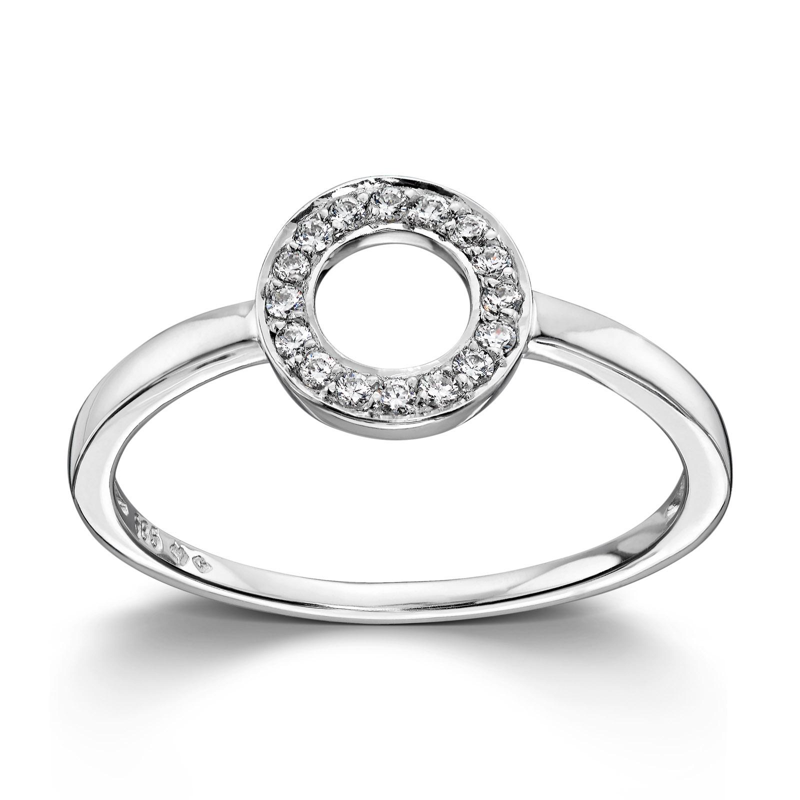 Mestergull Enkel og ren ring i hvitt gull med en sirkel av cubic zirkonia MESTERGULL Ring
