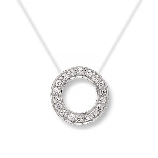 Mestergull Enkelt og rent anheng i hvitt gull med en sirkel av cubic zirkonia MESTERGULL Anheng