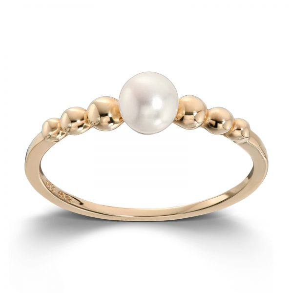 Mestergull Moderne ring i gult gull med ferskvannsperle MESTERGULL Ring