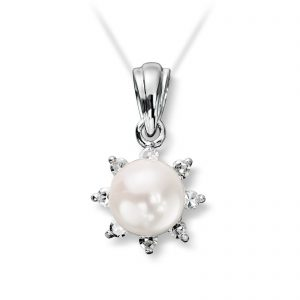 Mestergull Elegant anheng i hvitt gull med ferskvannsperle og diamanter MG DIAMONDS Anheng