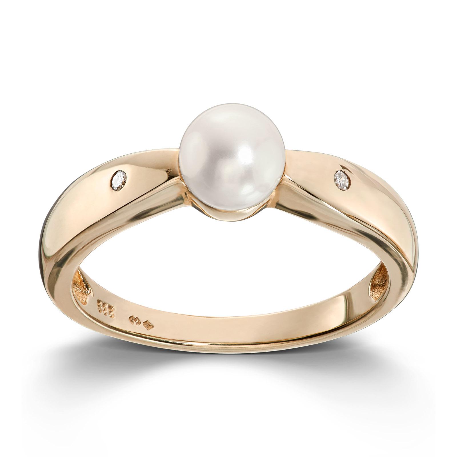 9c443358 Mestergull Klassisk ring i gult gull med ferskvannsperle og diamanter  MESTERGULL Ring