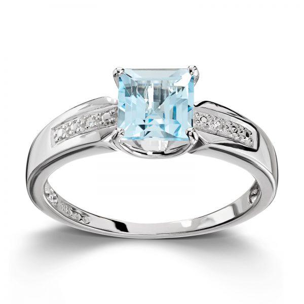 Mestergull Flott ring i hvitt gull med topas og diamanter MESTERGULL Ring