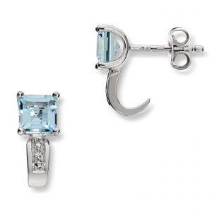 Mestergull Elegante ørepynt i hvitt gull med blå topas og diamanter MESTERGULL Ørepynt