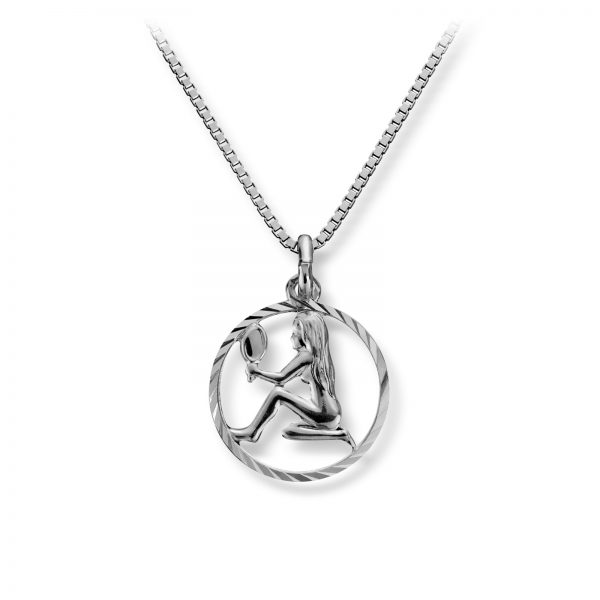 Mestergull Stjernetegn anheng i rhodinert sølv, Jomfruen MG BASIC Tegn/Bokstav Anheng