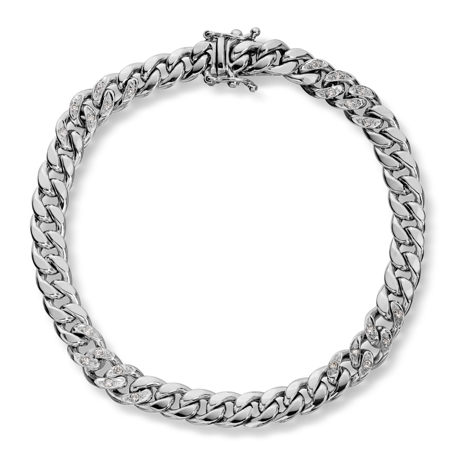 Mestergull Lekkert armbånd i hvitt gull med diamanter MESTERGULL Armbånd