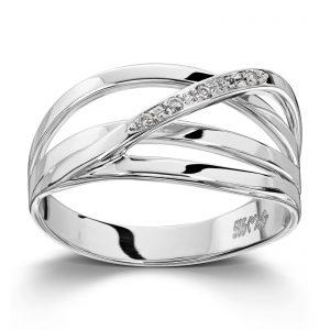 Mestergull Flott ring i hvitt gull med diamanter MESTERGULL Ring