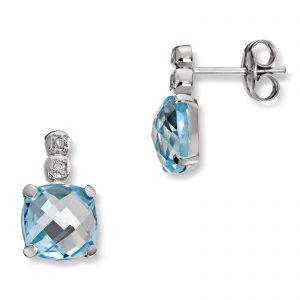 Mestergull Flott ørepynt i hvitt gull med diamanter og blå topas MG DIAMONDS Ørepynt