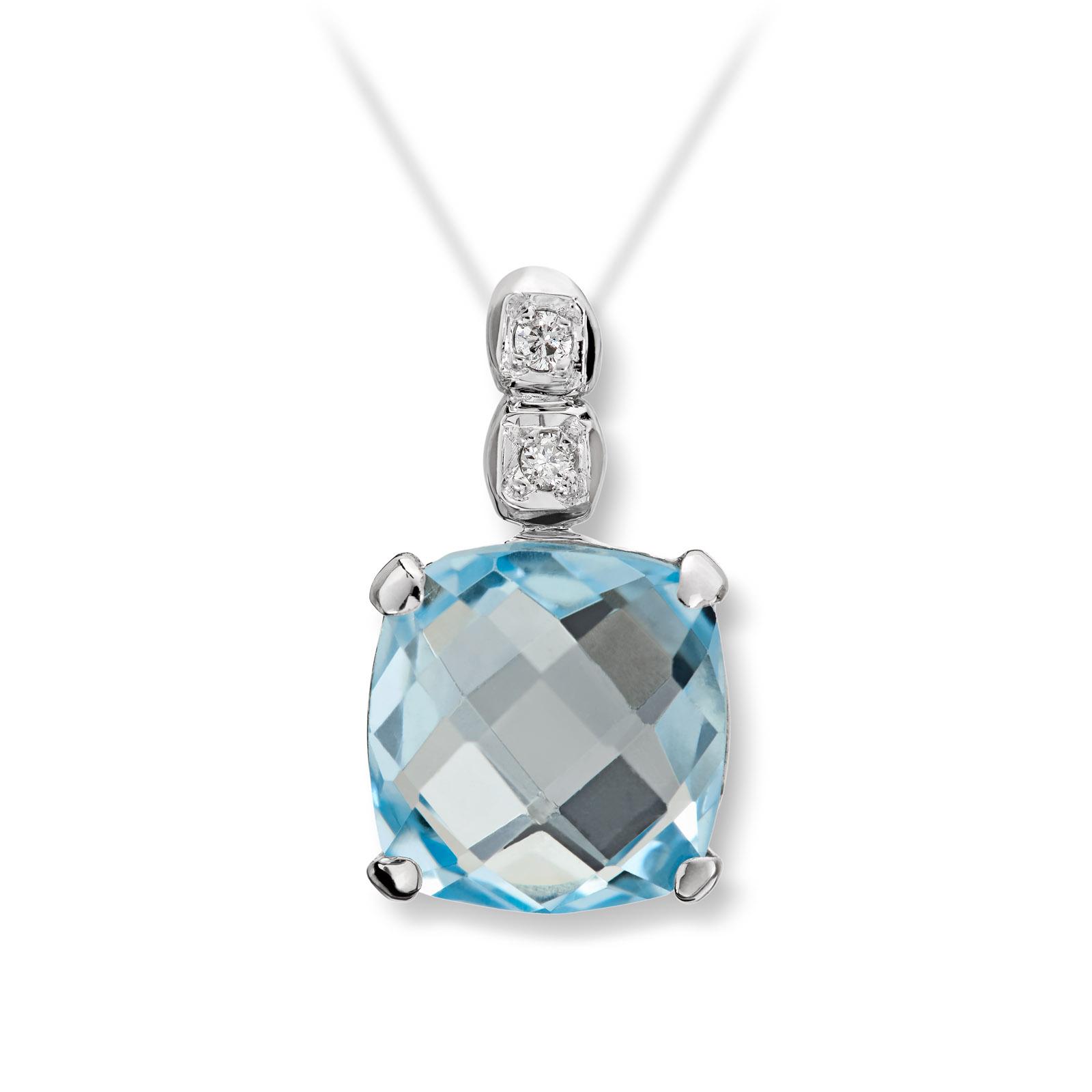 Mestergull Flott anheng i hvitt gull med diamanter og blå topas MG DIAMONDS Anheng