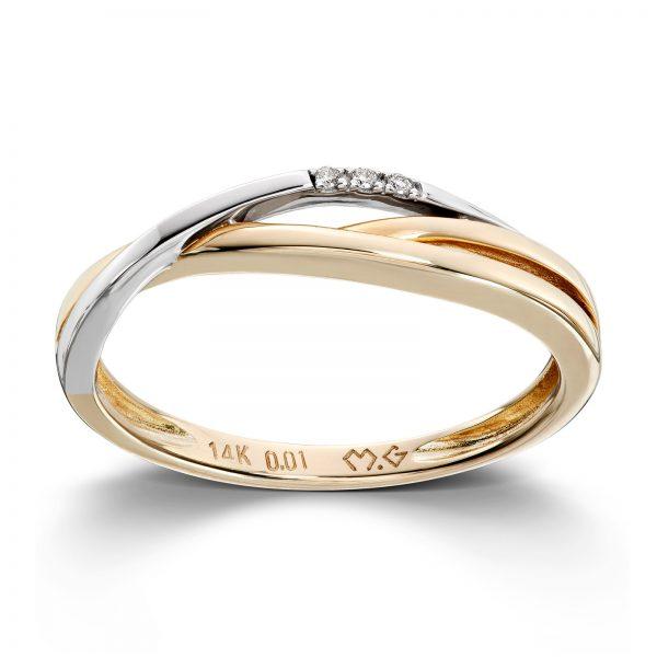 Mestergull Fin ring i gult og hvitt gull med diamanter MESTERGULL Ring