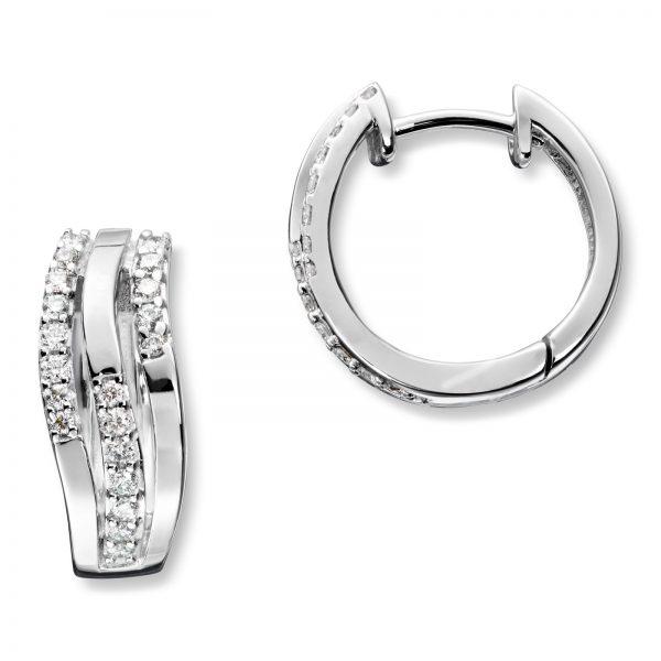 Mestergull Lekkre øreringer i hvitt gull med diamanter MG DIAMONDS Ørepynt