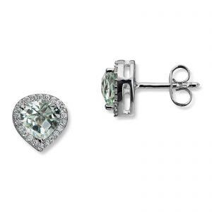 Mestergull Lekker ørepynt i hvitt gull med diamanter og prasiolitt MG DIAMONDS Ørepynt