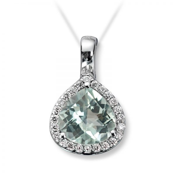 Mestergull Lekkert anheng i hvitt gull med diamanter og prasiolitt MG DIAMONDS Anheng