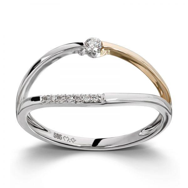 Mestergull Tøff ring i hvitt og gult gull med diamanter MG DIAMONDS Ring