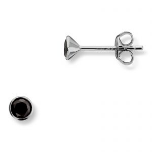 Mestergull Enkel ørepynt i rhodinert sølv med sort cubic zirkonia MG BASIC Ørepynt