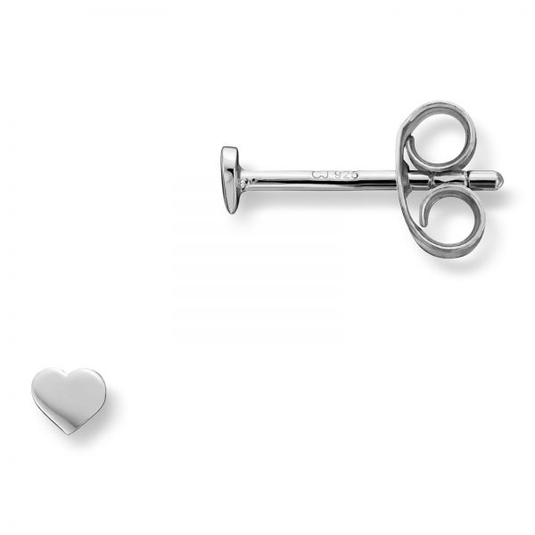 Mestergull Enkelt hjerteørepynt i rhodinert sølv MG BASIC Ørepynt