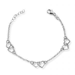 Mestergull Lekkert armbånd i sølv med hjerter MG BASIC Armbånd