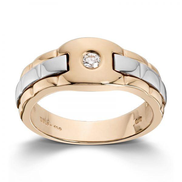 Mestergull Lekker ring til herre i gult og hvitt gull med diamant MESTERGULL Ring