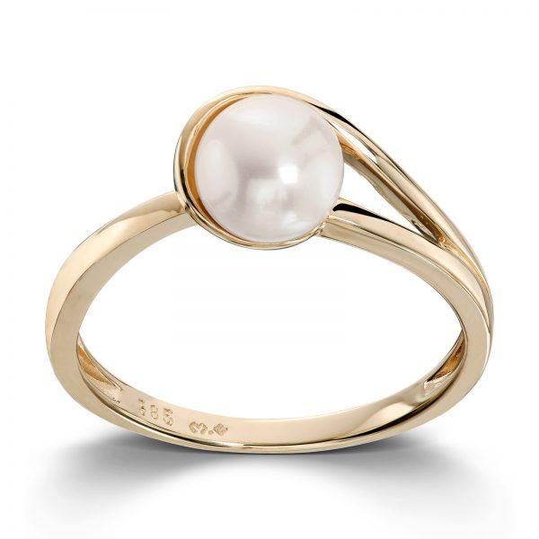 Mestergull Fin ring i gult gull med ferskvannsperle MESTERGULL Ring
