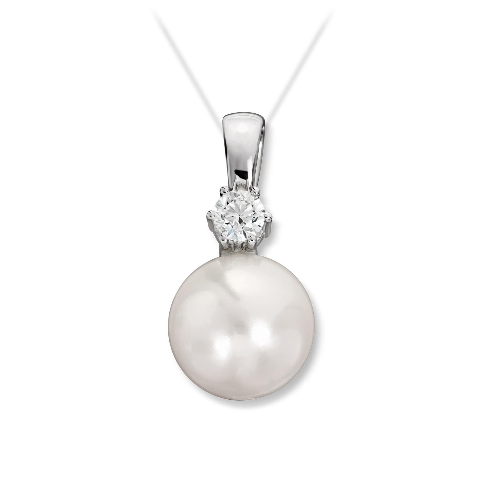 Mestergull Fint anheng i hvitt gull med diamant og ferskvannsperle MG DIAMONDS Anheng