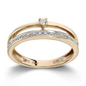 Mestergull Elegant ring i gult gull med diamanter MG DIAMONDS Ring