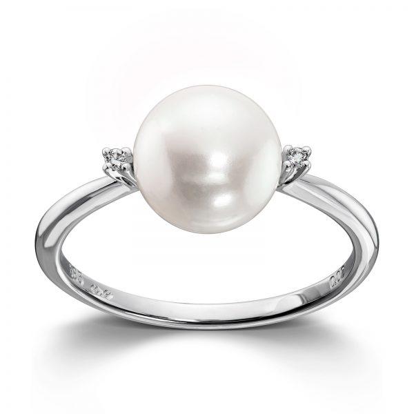 Mestergull Fin ring i hvitt gull med diamanter og ferskvannsperle MG DIAMONDS Ring