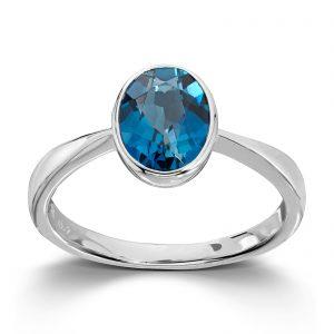 Mestergull Flott ring i hvitt gull med London blue topas MESTERGULL Ring