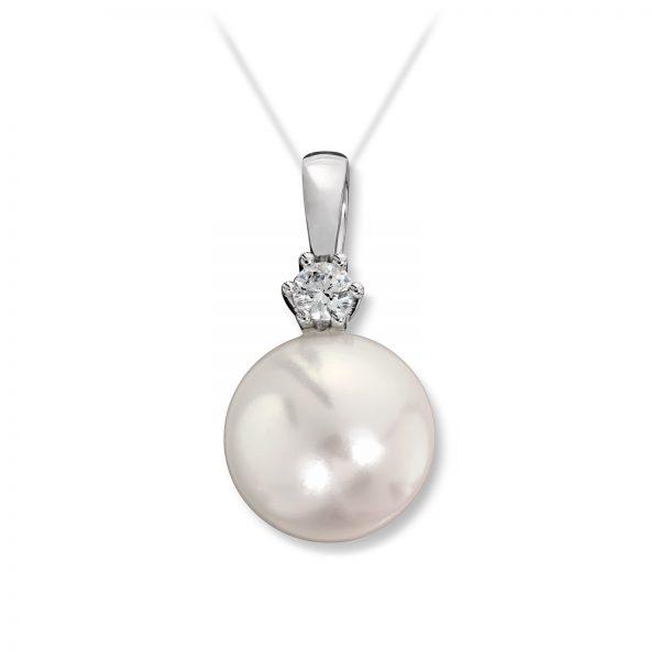 Mestergull Klassisk anheng i hvitt gull med diamanter og ferskvannsperle MG DIAMONDS Anheng