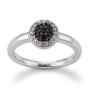 Mestergull Elegant ring i rhodinert sølv med sorte og hvite cubic zirkonia VIVENTY Ring
