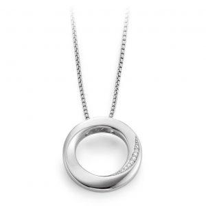Mestergull Fint anheng med sirkel i rhodinert sølv med diamanter VIVENTY Anheng