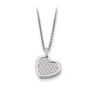 Mestergull Fint hjerte anheng i rhodinert sølv med cubic zirkonia VIVENTY Anheng
