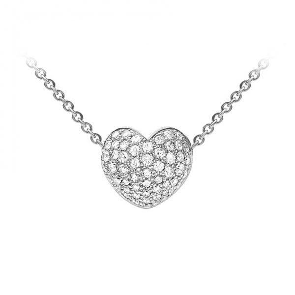 Mestergull Hjertelås til nøkkelsystem i 18 kt. hvitt gull med 55 diamanter totalt 1,07 ct. TwVs LYNGGAARD Hearts Anheng