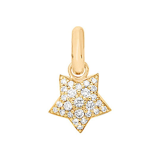 Mestergull Charm Magic Star Sweet Drops i 18 kt. gult gull med 27 diamanter totalt 0,53 ct. TwVs LYNGGAARD Sweet Drops Charm