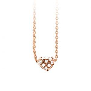 Mestergull Collier Heart i 18 K Rosé gull med 8 diamanter totalt 0,08 ct. TwVs LYNGGAARD Hearts Kjede